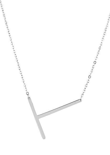 Hailys Damen Fashion Halskette mit Buchstaben Anhänger T silber