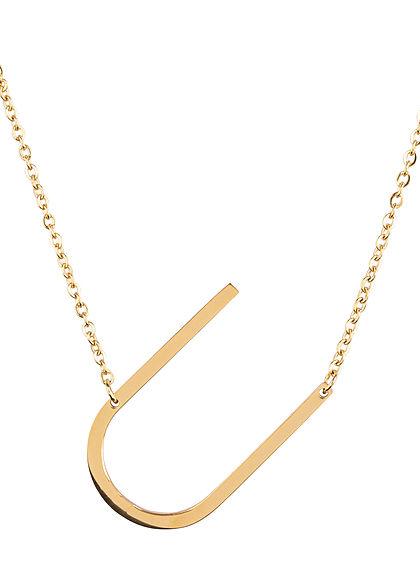 Hailys Damen Fashion Halskette mit Buchstaben Anhänger U gold