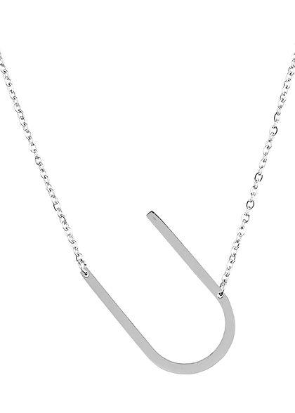 Hailys Damen Fashion Halskette mit Buchstaben Anhänger U silber