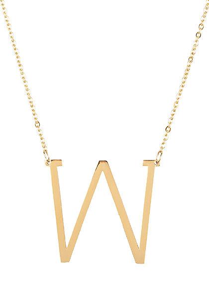Hailys Damen Fashion Halskette mit Buchstaben Anhänger W gold