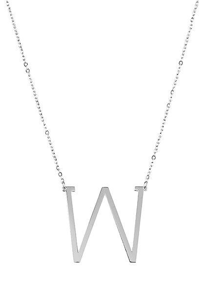 Hailys Damen Fashion Halskette mit Buchstaben Anhänger W silber