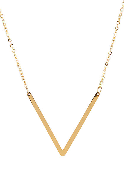 Hailys Damen Fashion Halskette mit Buchstaben Anhänger V gold