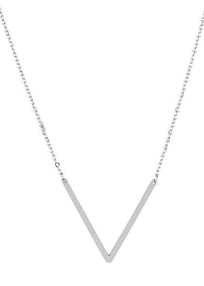 Hailys Damen Fashion Halskette mit Buchstaben Anhänger V silber