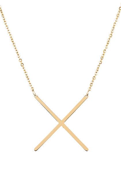 Hailys Damen Fashion Halskette mit Buchstaben Anhänger X gold