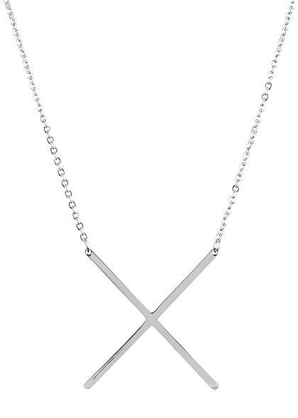 Hailys Damen Fashion Halskette mit Buchstaben Anhänger X silber