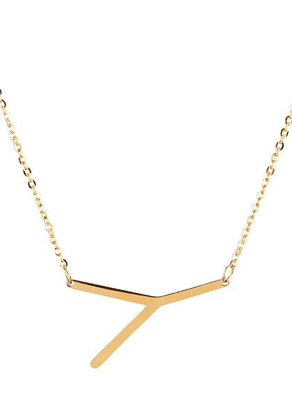 Hailys Damen Fashion Halskette mit Buchstaben Anhänger Y gold