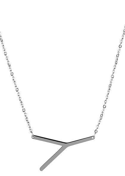 Hailys Damen Fashion Halskette mit Buchstaben Anhänger Y silber