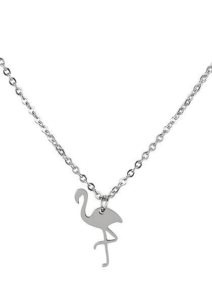 Hailys Damen Fashion Halskette mit Anhänger Flamingo silber