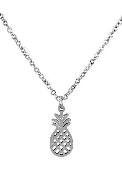 Hailys Damen Fashion Halskette mit Anhänger Ananas silber