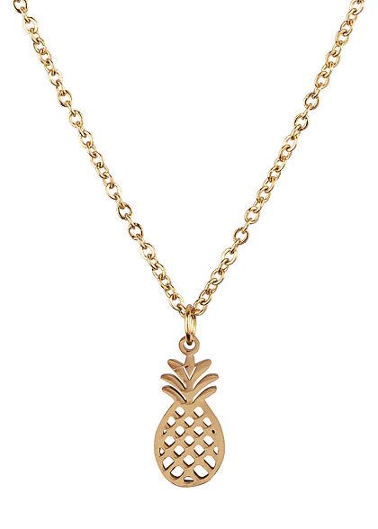 Hailys Damen Fashion Halskette mit Anhänger Ananas gold
