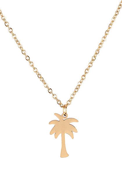 Hailys Damen Fashion Halskette mit Anhänger Palme gold