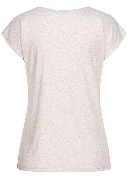 Hailys Damen Melange T-Shirt Love Pailletten Leo Print beige melange