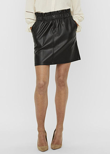Noisy May Damen NOOS Paperbag Kunstleder Mini Rock High- Waist elastischer Bund schwarz - Art.-Nr.: 20120653
