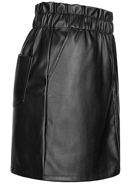 Noisy May Damen NOOS Paperbag Kunstleder Mini Rock High- Waist elastischer Bund schwarz