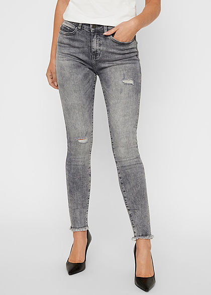 Noisy May Damen NOOS Ankle Skinny Jeans Hose 5-Pockets Destroy Look & Fransen grau - Art.-Nr.: 20120656