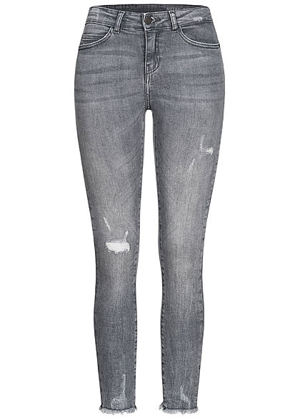 Noisy May Damen NOOS Ankle Skinny Jeans Hose 5-Pockets Destroy Look & Fransen grau