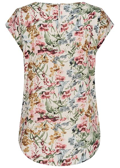 ONLY Damen NOOS Blusen Top Blumen Print Vokuhila Zipper cloud d. weiss beige mc