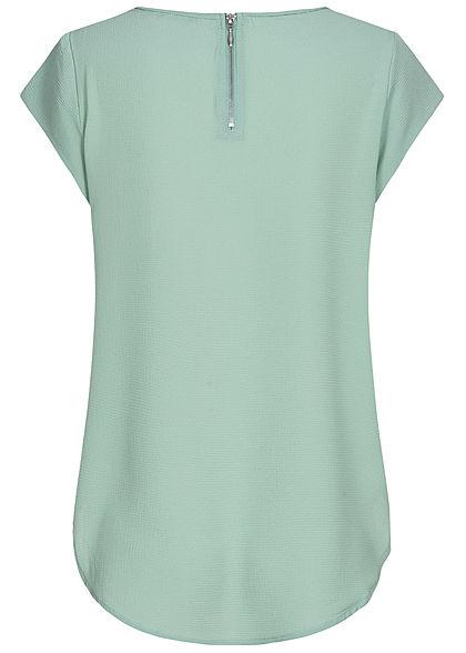 ONLY Damen NOOS Solid Blusen Shirt Struktur Muster Zipper blue surf grün