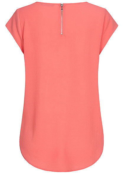 ONLY Damen NOOS Solid Blusen Shirt Struktur Muster Zipper tea rose dunkel pink