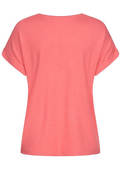 ONLY Damen NOOS Solid T-Shirt mit Ärmelumschlag tea rose dunkel pink