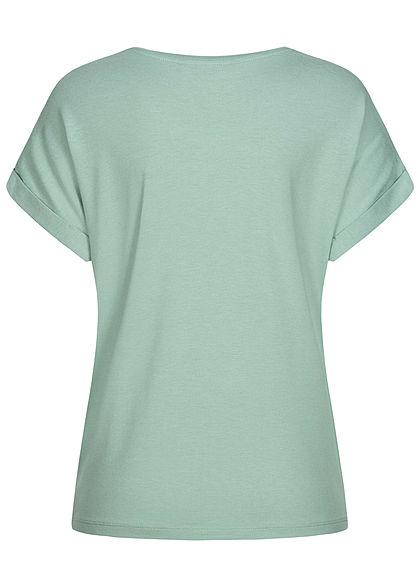 ONLY Damen NOOS Solid T-Shirt mit Ärmelumschlag jadeite grün