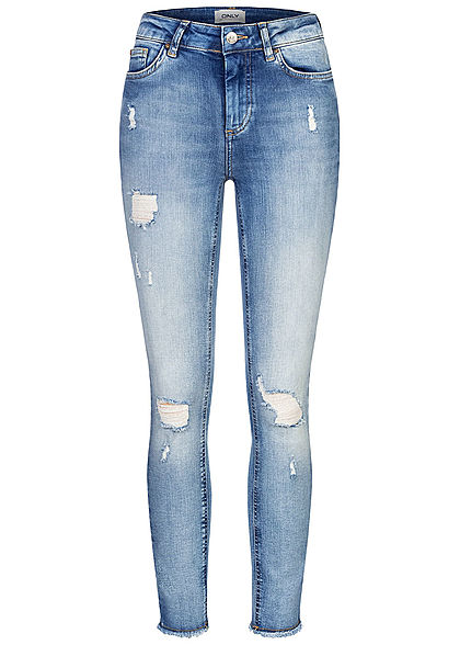 ONLY Damen NOOS Ankle Skinny Jeans Hose Destroy Look 5-Pockets Fransen hell blau
