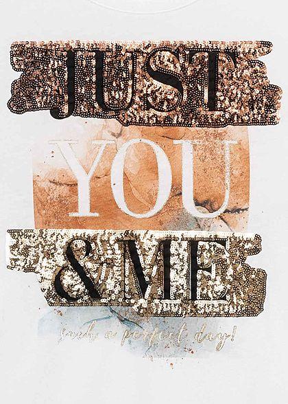 Hailys Damen T-Shirt Just You & Me Schriftzug mit Pailletten Glitzer weiss gold schwarz