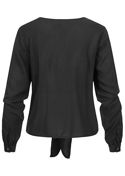 ONLY Damen NOOS V-Neck Viskose Bluse Bindedetail vorne mit Deko Knopfleiste schwarz