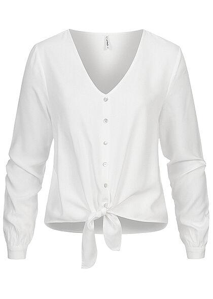 ONLY Damen NOOS V-Neck Viskose Bluse Bindedetail vorne mit Deko Knopfleiste cloud weiss