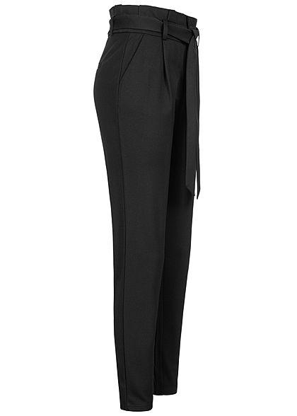 ONLY Damen NOOS Ankle Poptrash Paperbag Hose High-Waist inkl. Bindegürtel schwarz