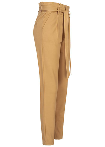 ONLY Damen NOOS Ankle Poptrash Paperbag Hose High-Waist inkl. Bindegürtel prairie sand beige