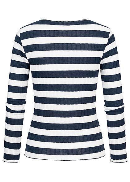 ONLY Damen Ribbed Frill Longsleeve Pullover Streifen Muster night sky blau weiss