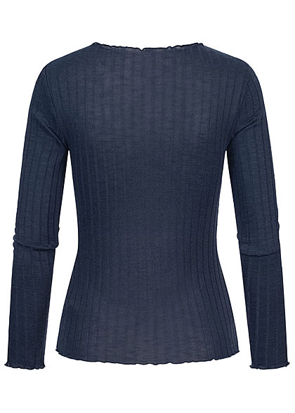 ONLY Damen Ribbed Frill Longsleeve Pullover unicolor night sky navy blau