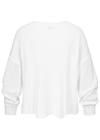 ONLY Damen NOOS Strickpullover Fledermausärmel Wellenmuster am Saum cloud dancer weiss