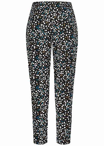 ONLY Damen Viskose Stoffhose Gummibund mit Tunnelzug Blumen Muster schwarz blau