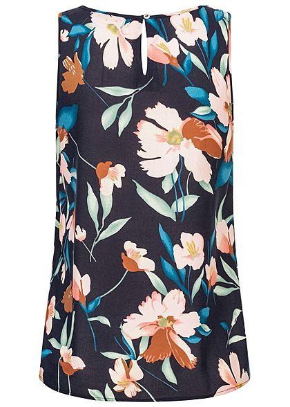 ONLY Damen Viskose Blusen Top Knopf hinten Florales Muster night sky navy blau rosa