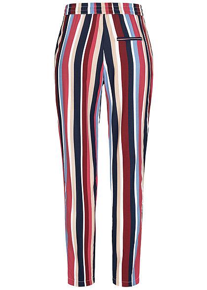 ONLY Damen Viskose Stoffhose Gummibund mit Tunnelzug Streifen Muster multicolor rot