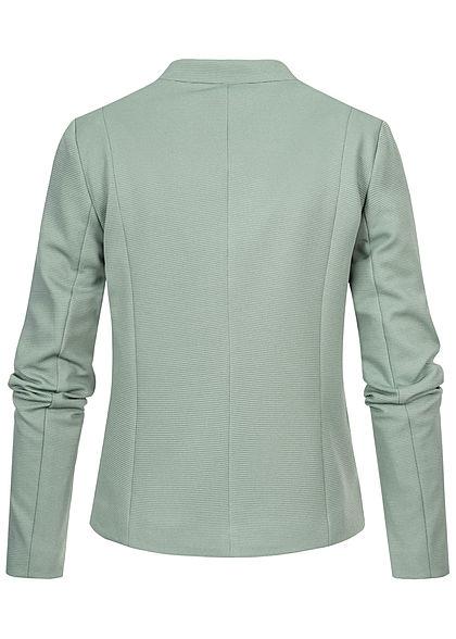 ONLY Damen kurzer Struktur Blazer Deko Zipper mit anged. Taschen milieu grün