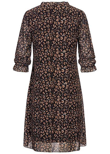 Styleboom Fashion Damen 3/4 Arm V-Neck Puffer Kleid Blumen Print 2-lagig schwarz