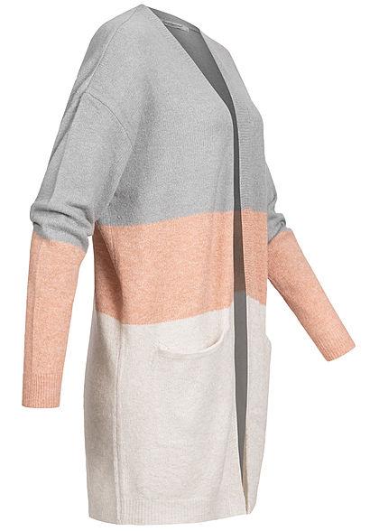 Seventyseven Lifestyle Damen Colorblock Cardigan Streifen 2-Pockets grau rosa beige