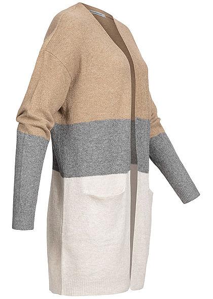 Seventyseven Lifestyle Damen Colorblock Cardigan Streifen 2-Pockets camel braun grau