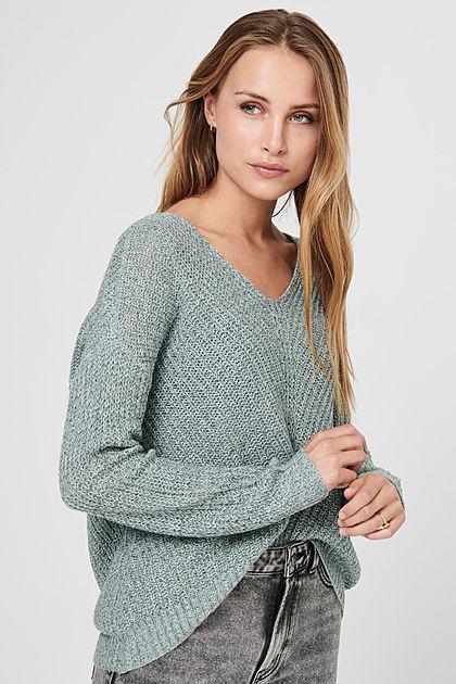 JDY by ONLY Damen NOOS Oversized V-Neck Sweater Strickpullover abyss blau grün