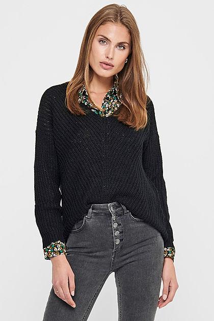 JDY by ONLY Damen NOOS Oversized V-Neck Sweater Strickpullover schwarz