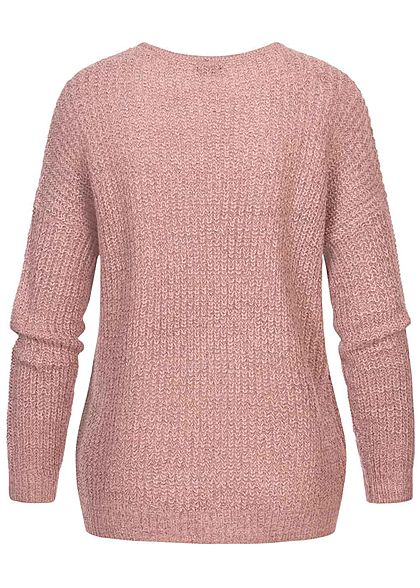 JDY by ONLY Damen NOOS Oversized V-Neck Sweater Strickpullover woodrose rosa