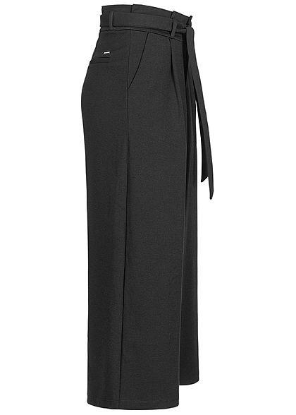 Tom Tailor Damen Paperbag Culotte Stoffhose inkl. Bindegürtel schwarz