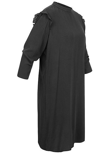 Tom Tailor Damen 3/4-Arm Mini Kleid Volantärmel schwarz