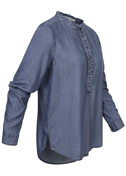 Tom Tailor Damen Langarm Denim Bluse mit Rüschen stone wash dunkel blau denim