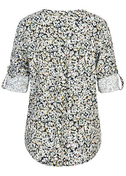 Tom Tailor Damen V-Neck Turn-up Bluse Floraler Print blurred navy blau weiss