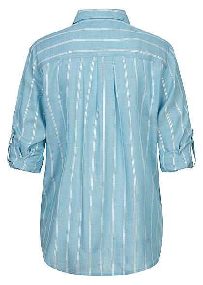 Tom Tailor Damen Turn-up Viskose Bluse Brusttasche Streifen Muster blau weiss