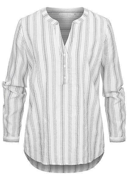 Tom Tailor Damen V-Neck Turn-up Bluse Tunika Streifen Muster weiss blau